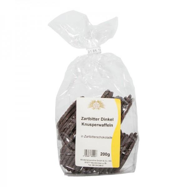 Dinkel-Knusperwaffeln in Zartbitterschokolade
