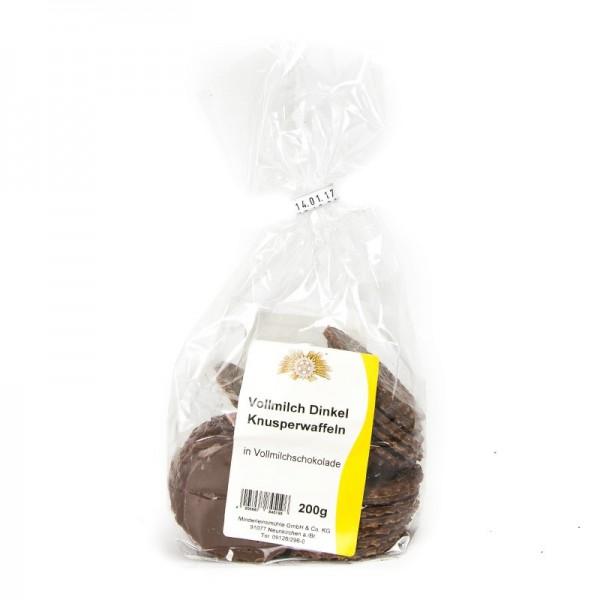 Dinkel-Knusperwaffeln in Vollmilchschokolade